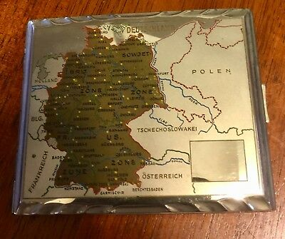 ANTIQUE GERMAN CIGARETTE CASE, CIRCA 1946, map of Poland on the front,great cond