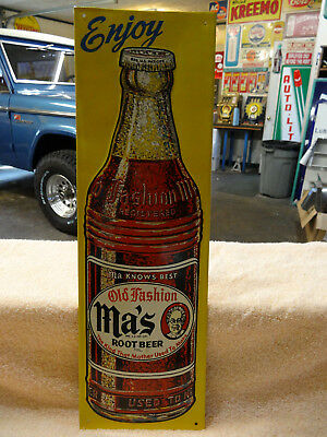 OLD MA'S ROOT BEER SODA SIGN EMBOSSED 1940s