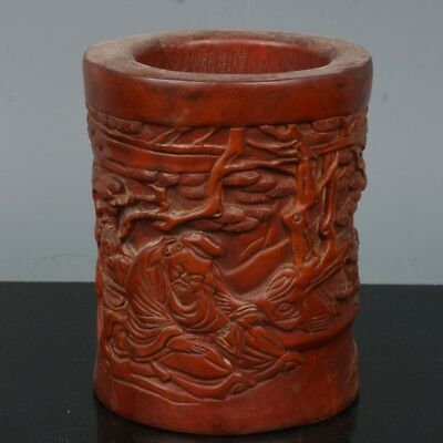 Chinese Exquisite Hand-carved pine Old man carving Boxwood Brush Pots