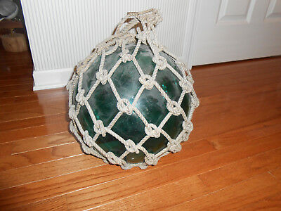 Vintage Antique Japanese Emerald Green Glass Fishing Float Ball~OLD Rope Netting
