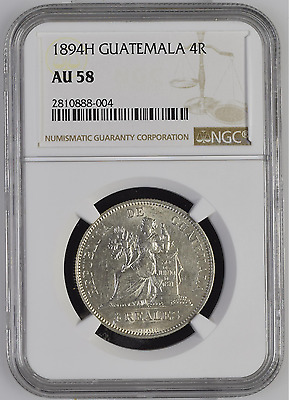 ✔ 1894 H Guatemala 4 Reales Silver NGC AU 58