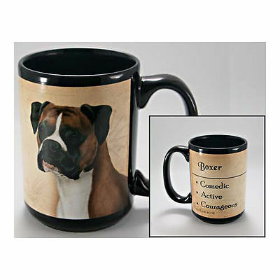 Boxer Uncropped Faithful Friends Dog Breed 15oz Coffee Mug Cup