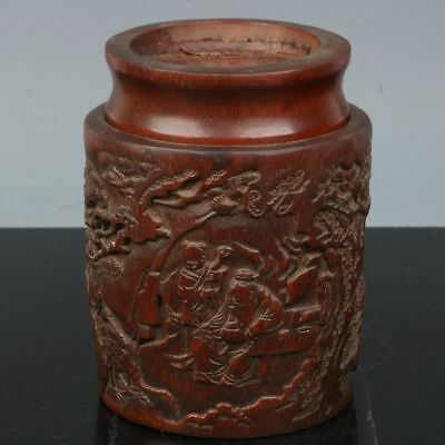 China Exquisite Hand-carved character landscape carving bamboo Tea caddy