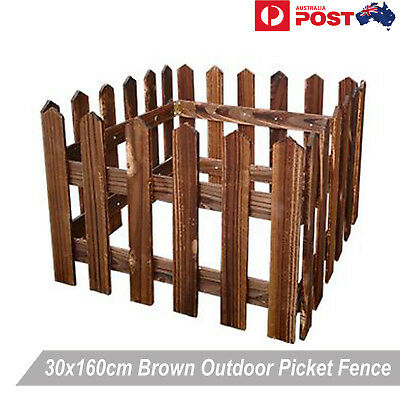 160x30cm Brown Wooden Fence Picket Panel Gate Wedding Party Decoration Bonsai DI