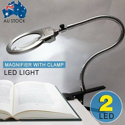 Clip Lighted Table Top Desk Magnifier Lamp LED Light Magnifying Glass With KO