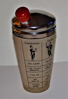 VTG 1930s Cocktail Shaker Frosted Glass Recipes Stainless Top Red Bakelite Cap