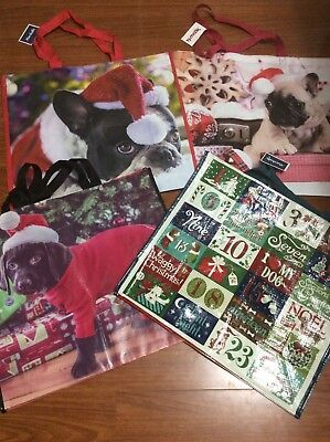 NEW Christmas Shopping Bags Dog Lovers 4 Reusable Eco Totes TJ Maxx Marshalls