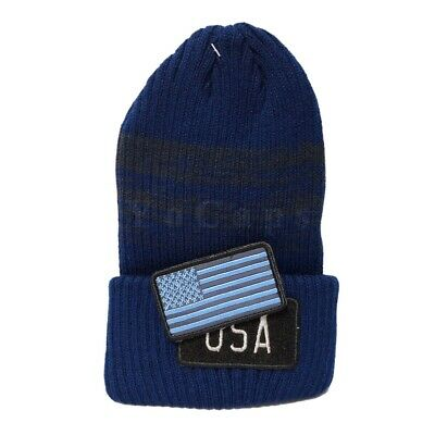a0fff951cfb USA Flag Hat Patch Embroidered Fashion Long Knit Beanie Navy Blue