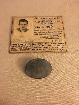 Dist. Of Columbia pin pin back DRIVER (TAXI) BADGE ID card 1945 1946 rare DC