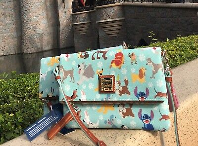 Sold out 2017 Dooney & Bourke disney dogs foldover zip crossbody bag purse