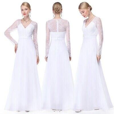 US White Long Chiffon Wedding Dress Bridesmaid Evening Formal Party Gowns 08692