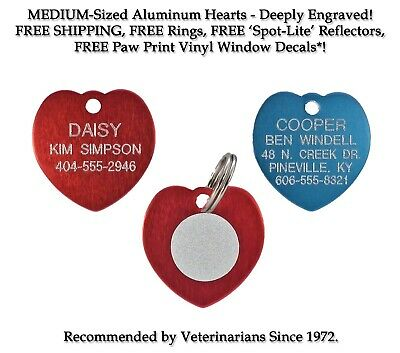 Heart Dog/Cat Pet ID Name Tags-Custom Engraved Tag W/ Up to 5 Line Ships FREE