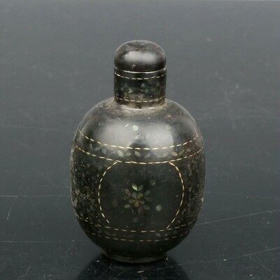 Chinese Exquisite Handmade lacquerware mosaic shell snuff bottle
