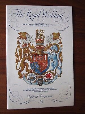 Official Programme Marriage of Prince of Wales and The Lady Diana Spencer 1981