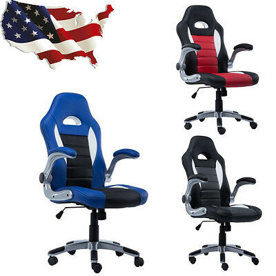 Executive  PU Leather Racing Style Bucket Seat Office Computer Desk Swivel Chair