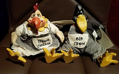 Russ Berrie Old Crow & Spring Chicken Vintage Collectible Hand Painted