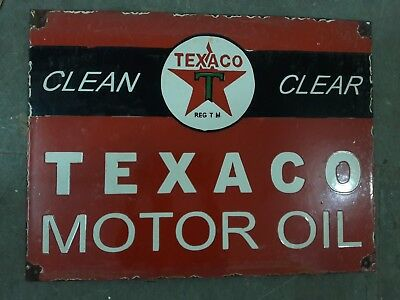 """Porcelain TEXACO MOTOR OIL Sign SIZE 15"""" X 20"""" INCHES"""