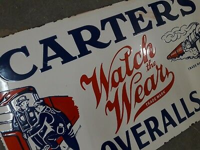 """Porcelain CARTER'S OVERALLS Sign SIGN 24"""" X 14"""" INCHES"""