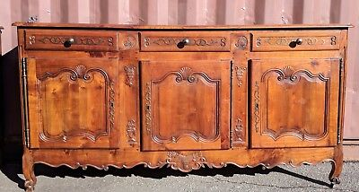 French Country Buffet Sideboard Server carved and crafted of stunning Elm Wood