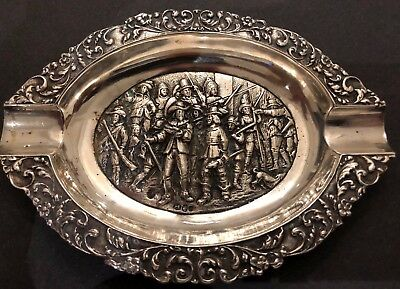 Antique Dutch Sterling Silver Ashtray with Battle Scene (1929)