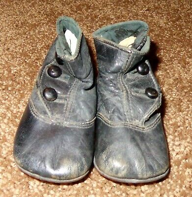 Old Vintage Baby Shoes Antique Black Leather High Top Button Up Boot Shoes