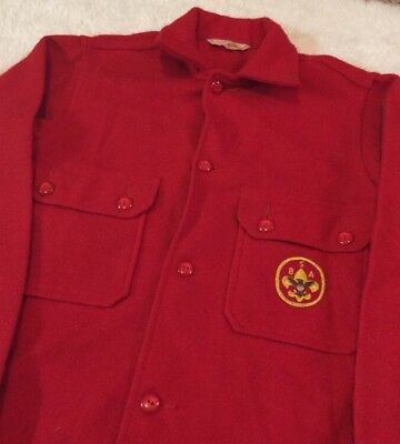Boy Scouts Of America Vintage Thick Wool Felt Red Official Jacket 553
