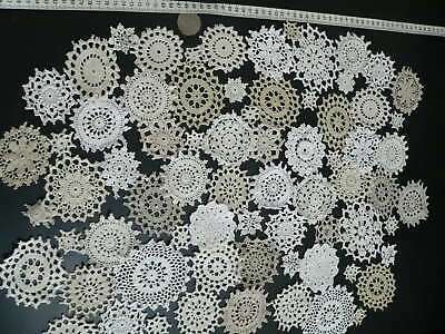 72pc cotton crochet medallions/mini doilie white ecru cream HUGE SALE ON NOW