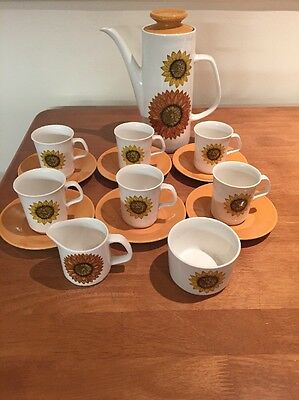 J&G Meakin Studio Full Coffee Set. Palma Sunflower Design - Preowned - Free Post