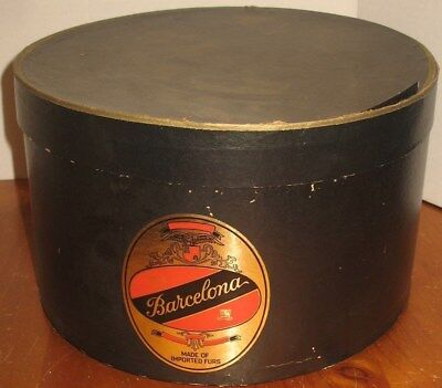 Vtg Barcelona Made of Imported Furs Empty Cardboard Hat Box Prop Display Storage