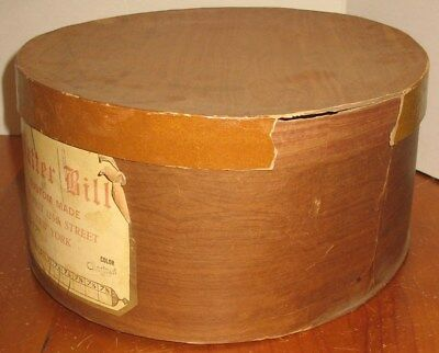 Vintage Hatter Bill Custom Made NY Empty Cardboard Hat Box Prop Display Storage