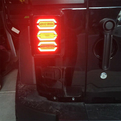 2X LED Smoked Auto LED Truck Tail Lights Lamps For Jeep Wrangler JK 07~16 HOT