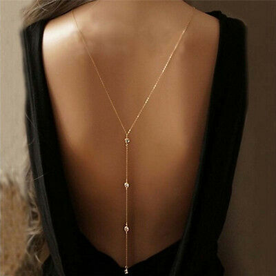 Fashion Women Gold Rhinestone Body Chain Belly Beach Harness Necklace Jewelry SR