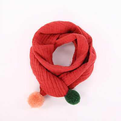 Soft Comfort Kids Winter Scarves Cotton Linen Scarf Colorful Ball Neckerchief