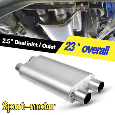 "3 Chamber Oval Muffler Exhaust Race 2.5"" Inlet/2.5"" Outlet Dual 17"" Body Length"