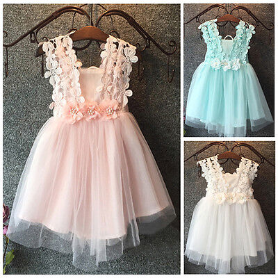 Toddler Baby Girls Kids Child Party Princess Tutu Dress Floral Bow Lace Dresses
