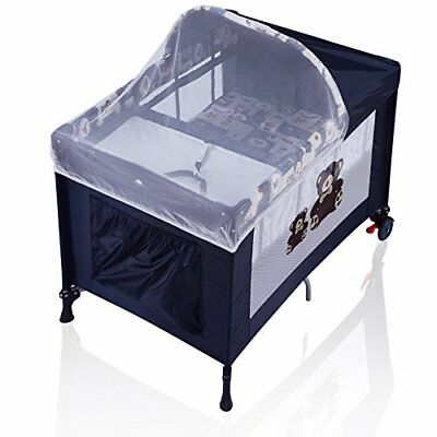Child Safe Baby Playard with Changing Station Bassinet, Canopy with Mosquito Net