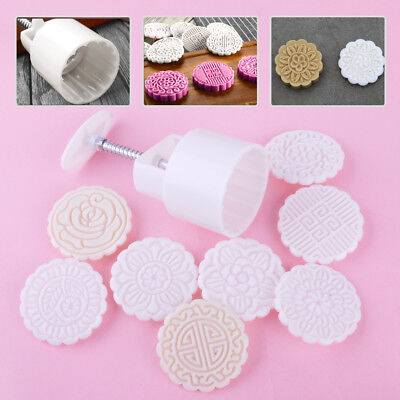 75g 8 Flower Stamps Round Baking Mooncake DIY Mold Pastry Biscuit Cake Mould