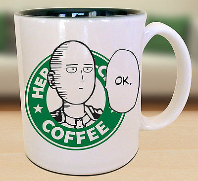 Saitama OK One Punch Man Starbucks Anime Manga Geek Nerd Mug