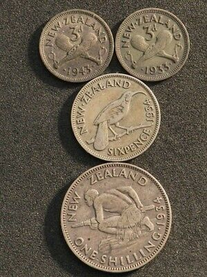 New Zealand Pre-Decimal Silver, Shillings, Sixpence And Threepence