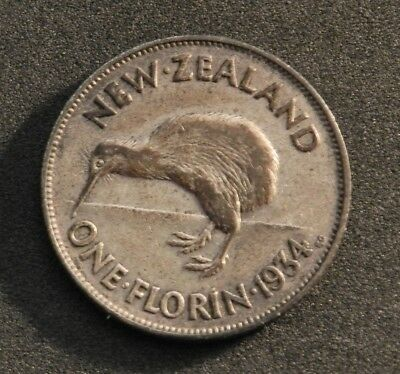 1934 New Zealand Silver Florin In Average Circulated Condition