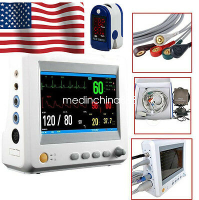 CE Profession 7''Color TFT-Screen ICU 6parameter Vital Sign Patient Monitor Gift