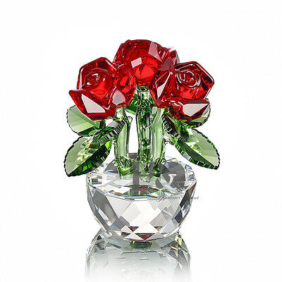 3 Head Red Magic Rose Crystal Paperweight Crystal Ornament Craft Christmas Gift