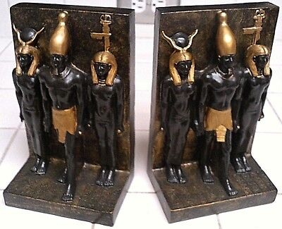 Egyptian Bookends Heavy Resin Statue of Pharaoh, Hathor & Goddess - HAND PAINTED