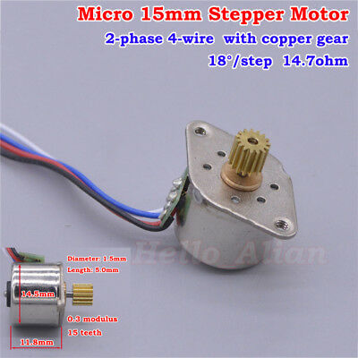 Mini 15mm Stepper Motor 2-phase 4-wire with 0.3 Module 15T Copper Gear 18 Degree