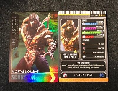 Injustice Arcade Dave and Busters Gold Card 82 M. Kombat Scorpion Rare Holofoil