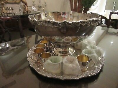 """Vintage Towle Silver Plate Punch Bowl, Tray, 20 Cups & Ladle 14.5"""" Wide Rim NICE"""