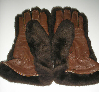 Vintage brown leather and  fur gloves size large