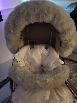 GREY luxury fur hood trim and bumper cover for pram/ buggy universal fit