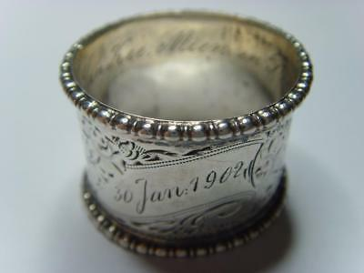VINTAGE SMALL NAPKIN RING 29mm JCW ENGRAVED 30 JAN 1902 WITH INSIDE ENGRAVING