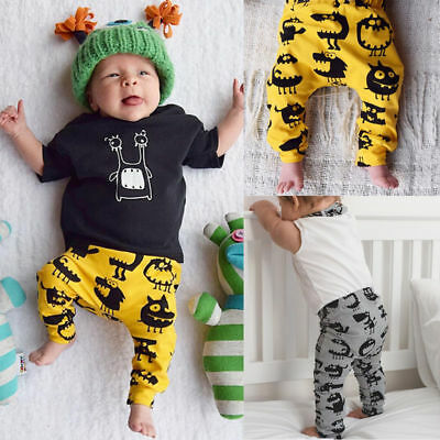 Newborn Baby Boys Girls Bottom Long Pants Leggings Trousers Cotton Clothing 0-3Y